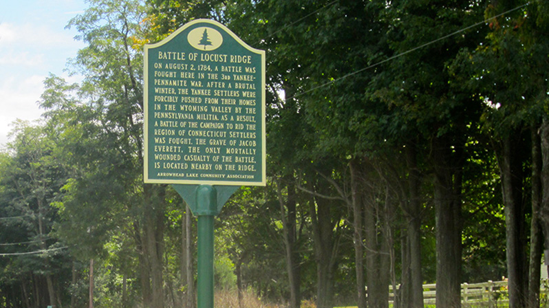 The Battle of Locust Ridge historical marker is placed near the site of the conflict in 1784.