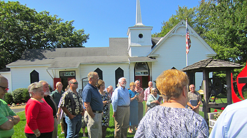 The Blakeslee United Methodist Church congregation gathers for the dedication of the historical marker.