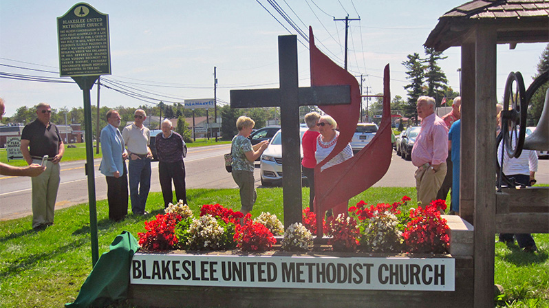 The historical marker becomes part of the Blakeslee United Methodist Church.
