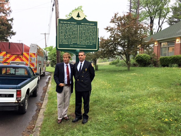 State Rep. Jack Rader, left, and Fire Chief Troy Counterman after the dedication of the marker.