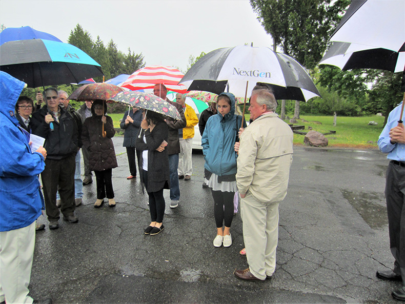 A very rainy experience at the dedication of the ice harvest industry marker on June 4, 2017.
