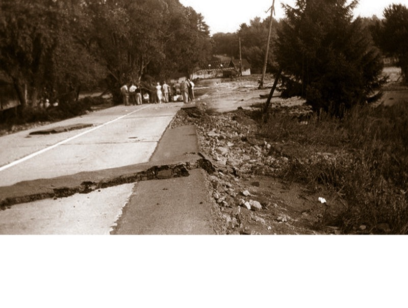 Hurricane Connie followed by Hurricane Diane in August 1955 flooded Tobyhanna Creek on Route 115 and caused destruction at Harrison Park, a favorite amusement park for Tobyhanna Township (now the Austin T. Blakeslee Natural Area).