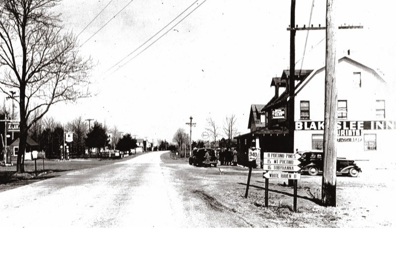Blakeslee Village (Blakeslee Corners – Route 940 and Route 115), facing north on Route 115.