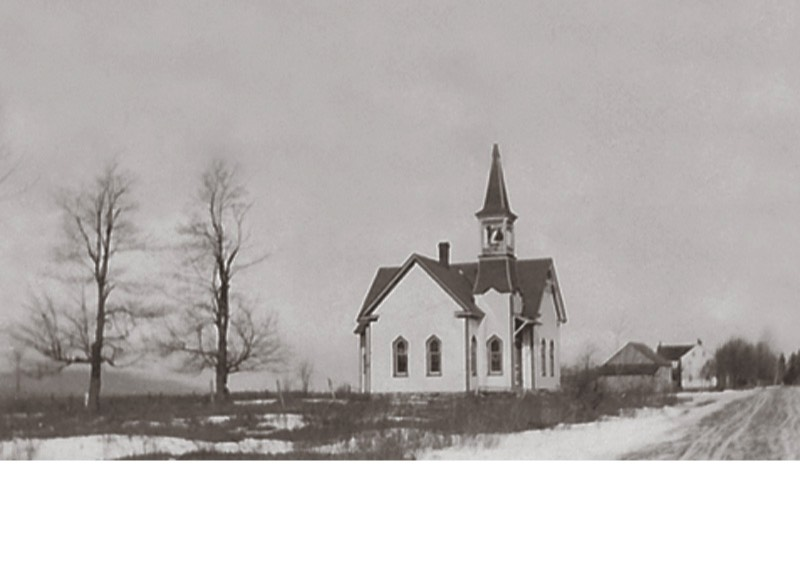 Blakeslee United Methodist Church, 1913, on present day Route 115, just north of Blakeslee Corners next to the Gulf station. The Waltz home is seen in the background.