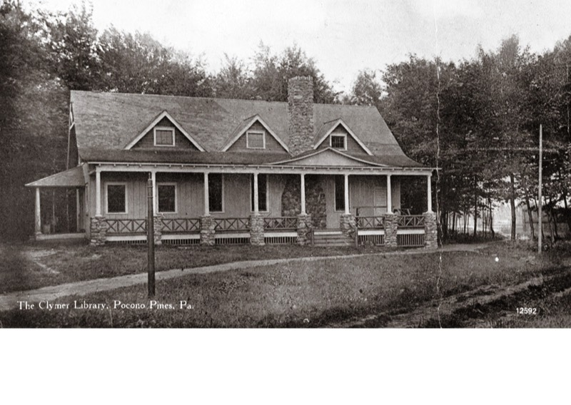The original Clymer Library on Pocono Pines Assembly grounds, subsequently Lutherland and today, the Pine Crest Lake complex in Pocono Pines.