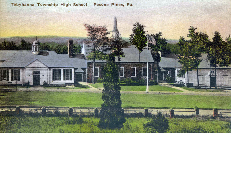 Tobyhanna Township school complex, with high school on left, auditorium and gymnasium in center, elementary school on right. These buildings served the township between 1929 and 1979, when they were destroyed by fire. Now the site of the Tobyhanna Elementary Center on Old Sullivan Road.