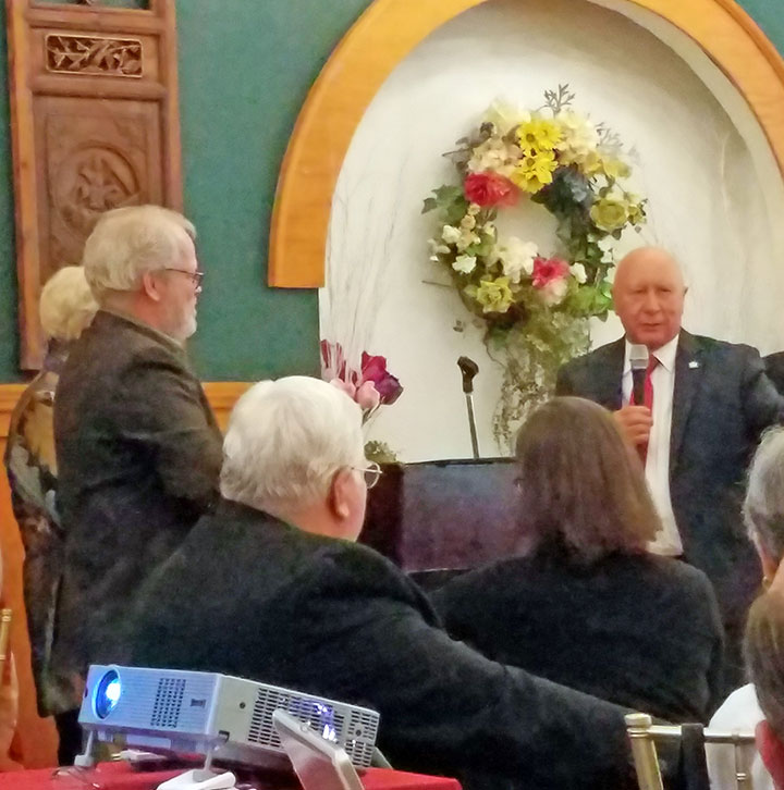 Presentation of the MCHA Heritage Award, February 25, 2018. State Sen. Mario Scavello, right, remarks on the Monroe County Historical Association