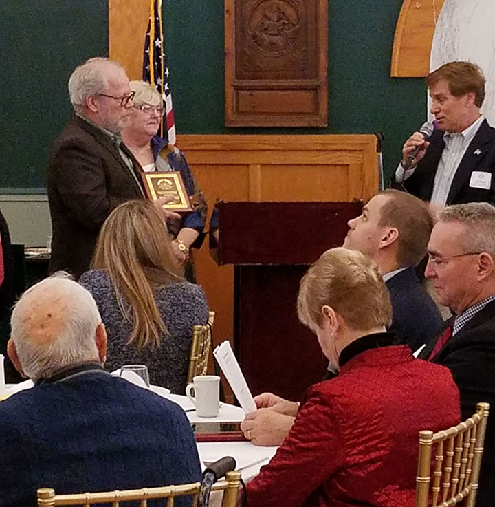 Presentation of the MCHA Heritage Award, February 25, 2018. State Rep. Jack Rader, right, remarks on the Monroe County Historical Association