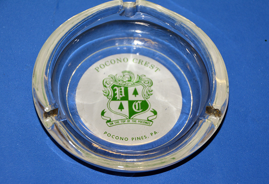 "Ashtray from Pocono Crest resort ""On the Top of the Poconos"" in Pocono Pines"
