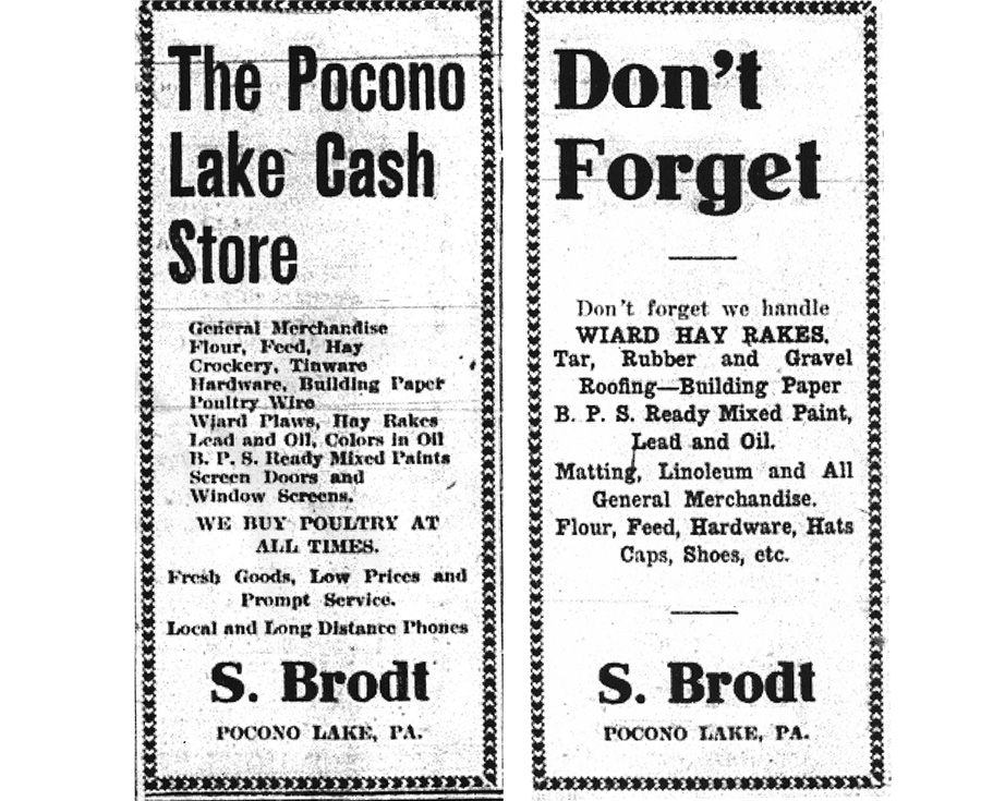 Stroudsburg Times ads, summer of 1909, for Stewart Brodt's store in Pocono Lake.