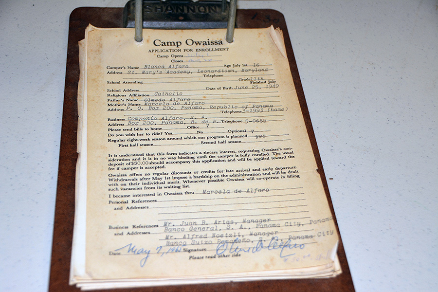 Camp Owaissa application, 1965, for a 16-year-old girl from Panama