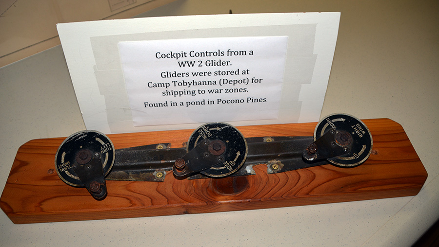 Cockpit controls from a World War II glider, found in a Pocono Pines pond.