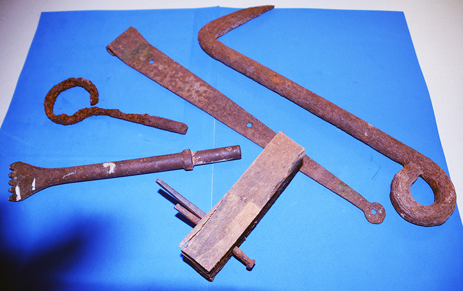 Assortment of early iron hardware