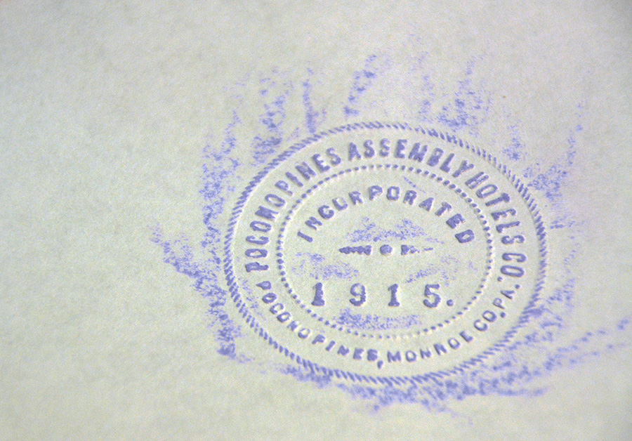 Pocono Pines Assembly Hotels Co., incorporated 1915, embossed seal