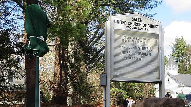The Salem UCC Historical Roadside Marker awaits unveiling. (Bob Baechtold Photo)